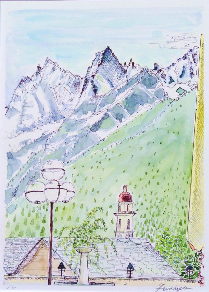 ソーリオ村からアルプスを望む