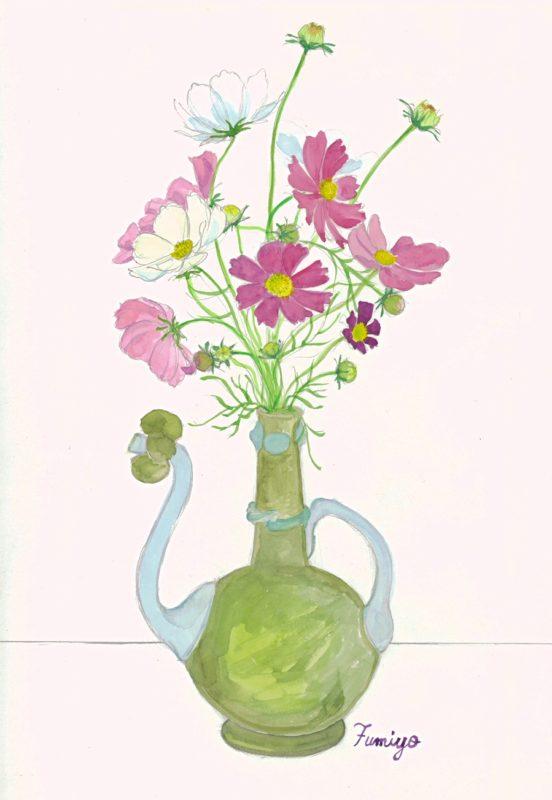 花瓶のコスモス