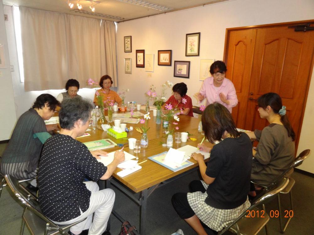 H-artギャラリー藤井ふみよ展 一本筆技法体験教室